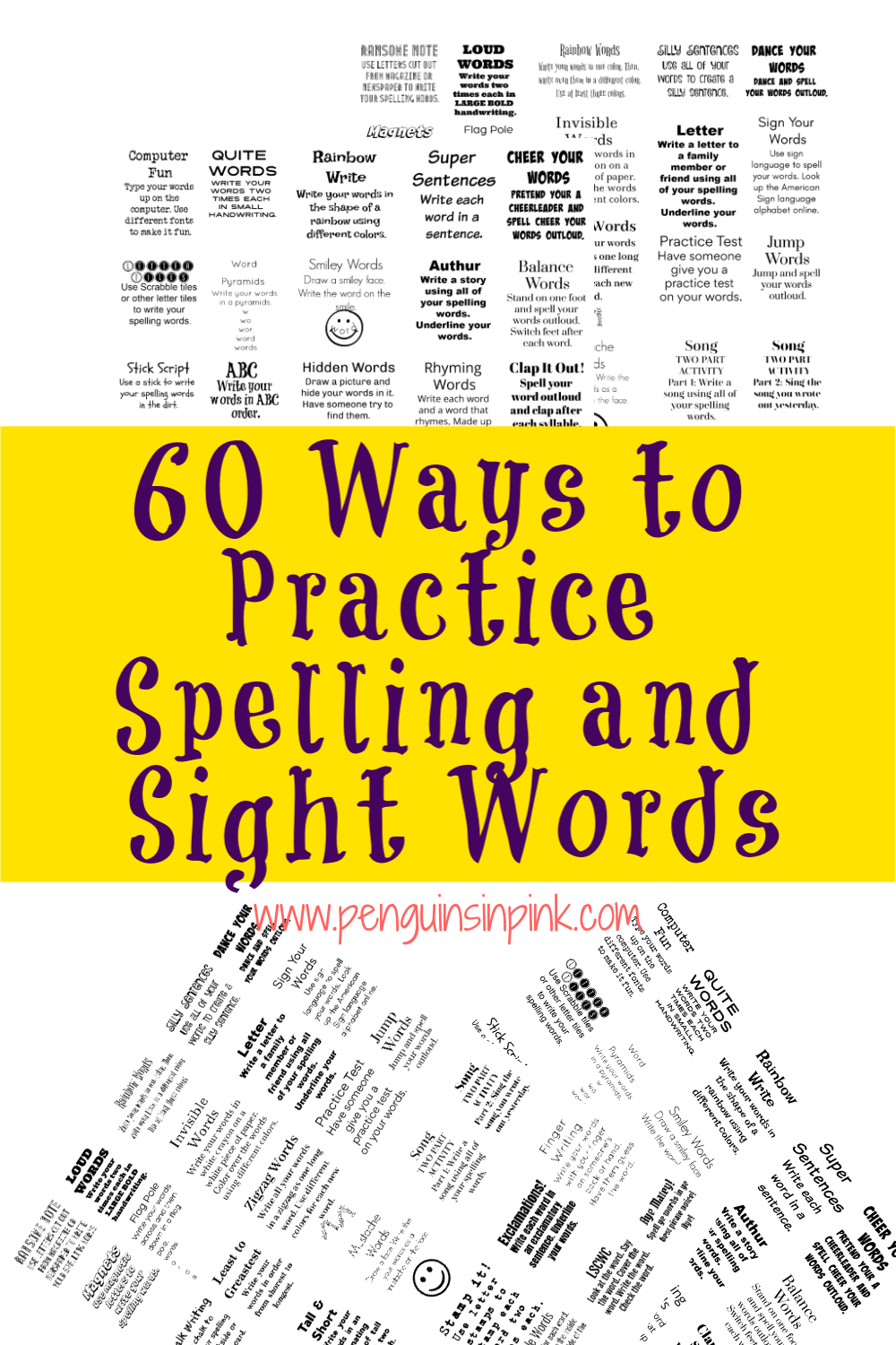 This FREE Printable packet has 60 ways for kids to practice their spelling and sight words. Including classic ways like ABC order to fun ways like flashlight writing.