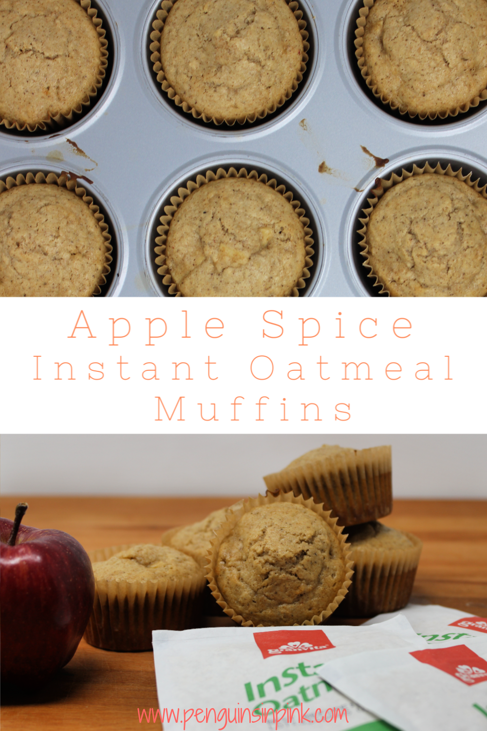 These freezer friendly Apple Spice Instant Oatmeal Muffins are bursting with apple pieces and instant apple cinnamon oatmeal making them a great kid-friendly food for breakfasts, snacks,or lunches!