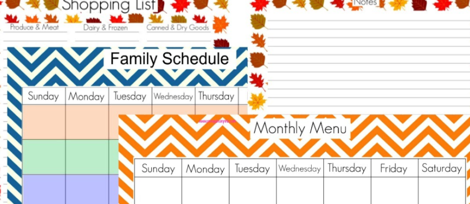 4 Home Management Printables Fall Edition