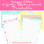 Monthly menu, shopping list, family schedule, and notes home management printables in aqua, bright pink, and yellow chevron and seashells to keep your house organized this summer.