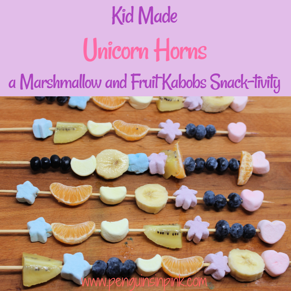 If you've got a unicorn-loving kid then you have to try these Kid Made Unicorn Horns a Marshmallow and Fruit Kabobs Snack-tivity. They are a fun, sweet snack where kids build a unicorn horn out of marshmallows and fruit pieces.