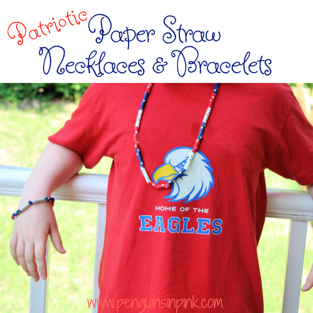 Patriotic Paper Straw Necklaces and Bracelets are fun to make. Kids can work on fine motor skills and math skills while creating a wearable piece of art. Also makes a great craft for a birthday party, Memorial Day BBQ, 4th of July Picnic, or Labor Day gathering.