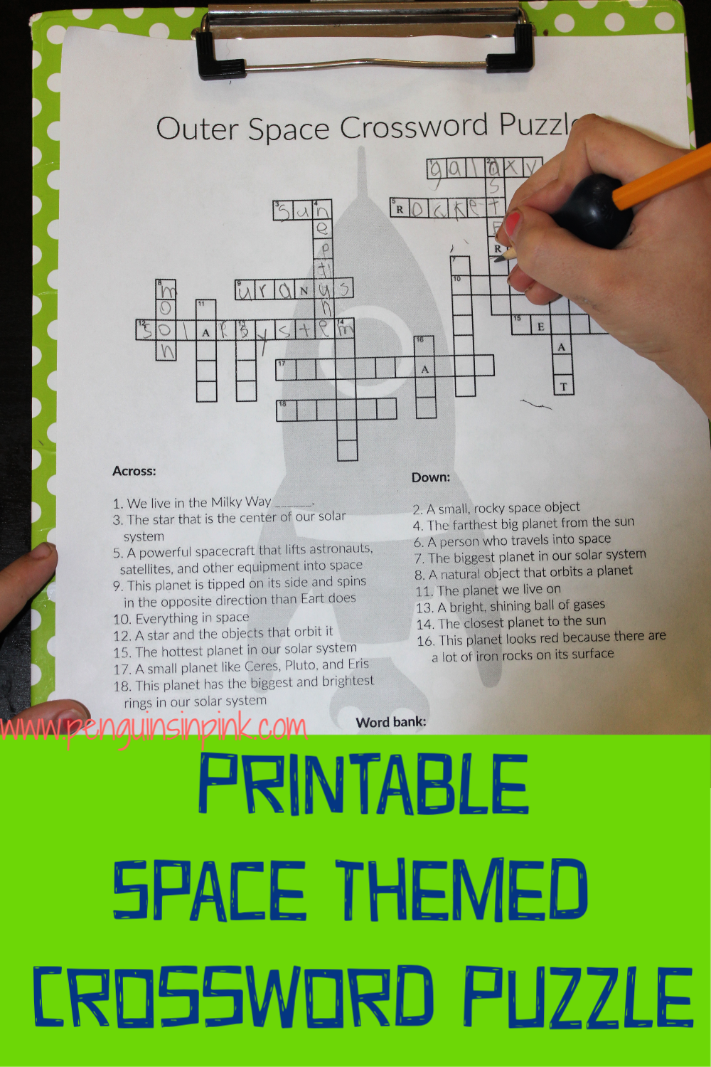 This FREE Printable Space Themed Crossword Puzzle is an easy way to help kids review their space knowledge or learn something new. The crossword puzzle is available either with a word bank or without one. An answer key is also included.