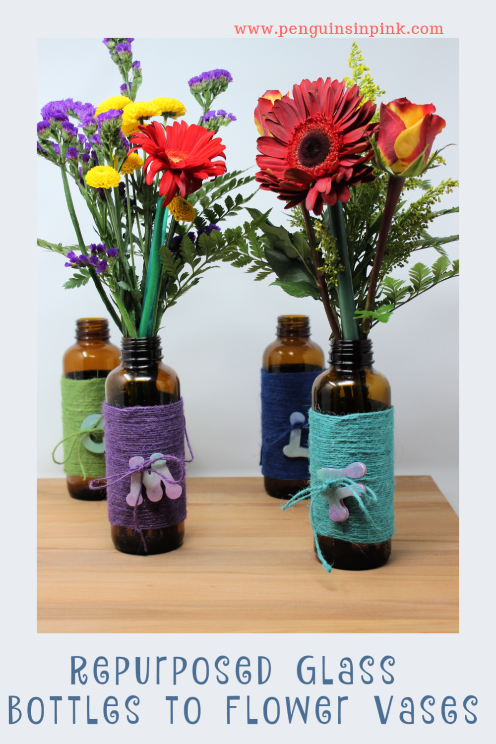 These Repurposed Glass Bottles to Flower Vases are are a fun way to dress up a plain glass bottle into a cute gift, centerpiece, or decor for a party.