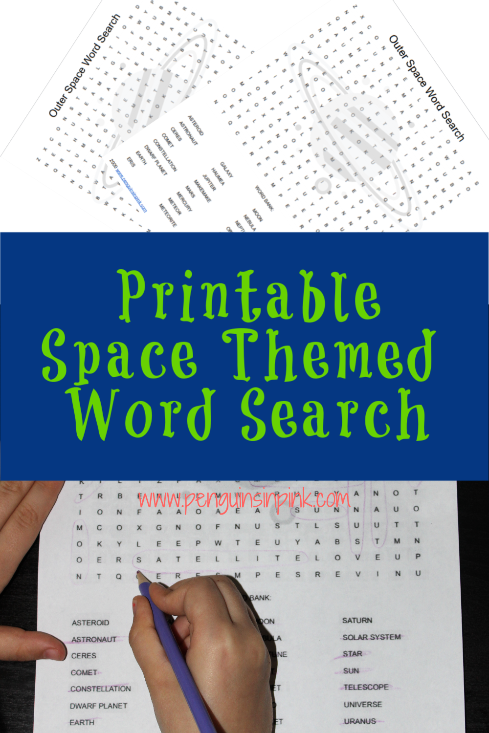 This FREE Printable Space Themed Word Search is an easy, fun way to help kids review 32 space words and terms including the planets of our solar system. Dwarf planets too! An answer key is also included.