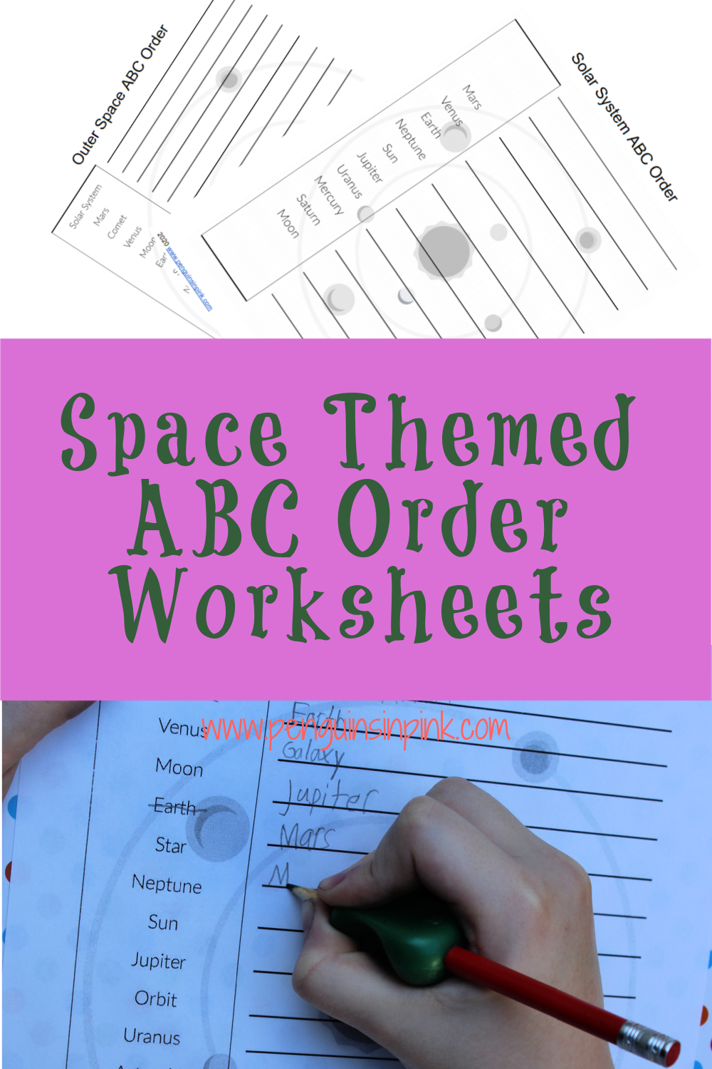 These FREE Printable ABC Order Worksheets are an easy way to help kids review their space words or terms. There are 2 different ABC order worksheets both with answer keys. The first has 10 words and covers just the solar system, the big 8 planets, sun, and moon. While the second includes the solar system and 10 other outer space terms like star, galaxy, and asteroid.