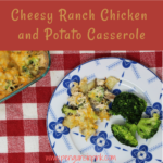 Cheesy ranch chicken and potato casserole is full of crunchy, baked potatoes, juicy chicken, steamed broccoli smothered in ranch dressing topped with melted cheese.