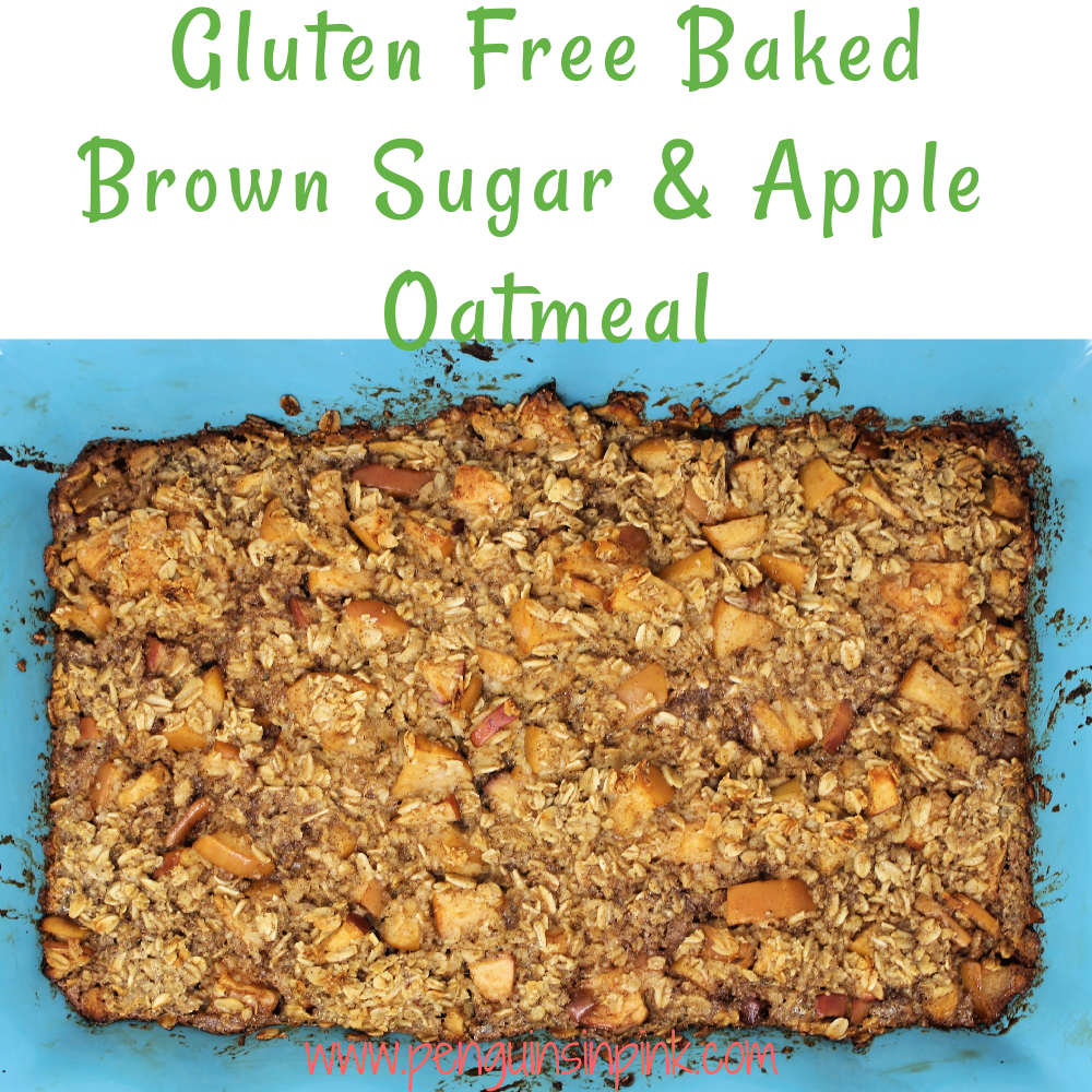 Gluten Free Baked Brown Sugar and Apple Oatmeal is a flavorful, moist, baked brown sugar and apple oatmeal that makes a healthy and complete breakfast. I love that a batch of this feeds three for a week.