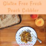 With it's flaky crust and sweet filling with notes of cinnamon and a hint of nutmeg this gluten free fresh peach cobbler sure to be a hit! While this gluten free fresh peach cobbler may look complicated it's not! This is one of the easiest peach cobbler recipes!