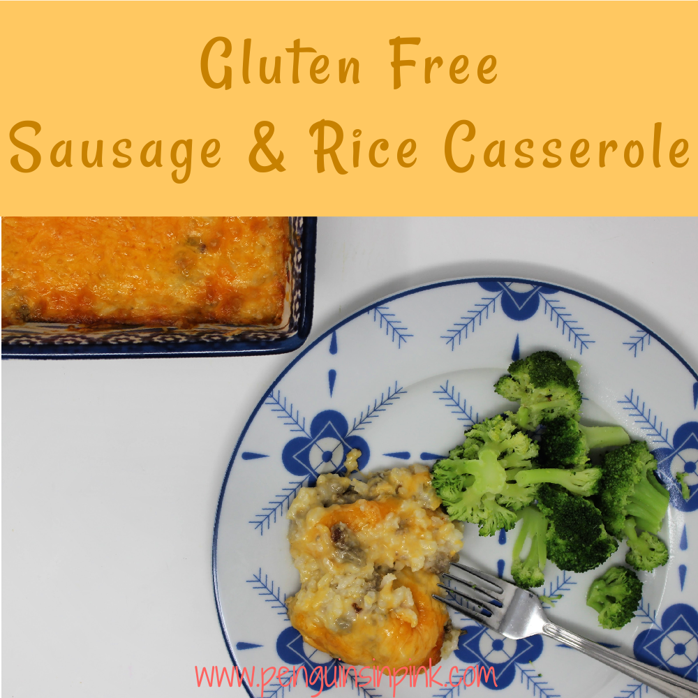 Gluten Free Sausage and Rice Casserole is a cheesy, family favorite, freezer friendly casserole packed with savory sausage and rice.