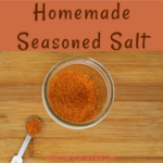 Homemade seasoned salt is a mix of sea salt, paprika, turmeric, and a few other herbs. This homemade version is full of flavor and delicious.