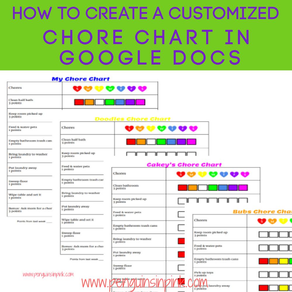 A tutorial on how to Create a Customized Chore Chart in Google Docs. Easily create a customized chore chart for each family member. The tutorial includes additional tips for optimizing your chore chart.