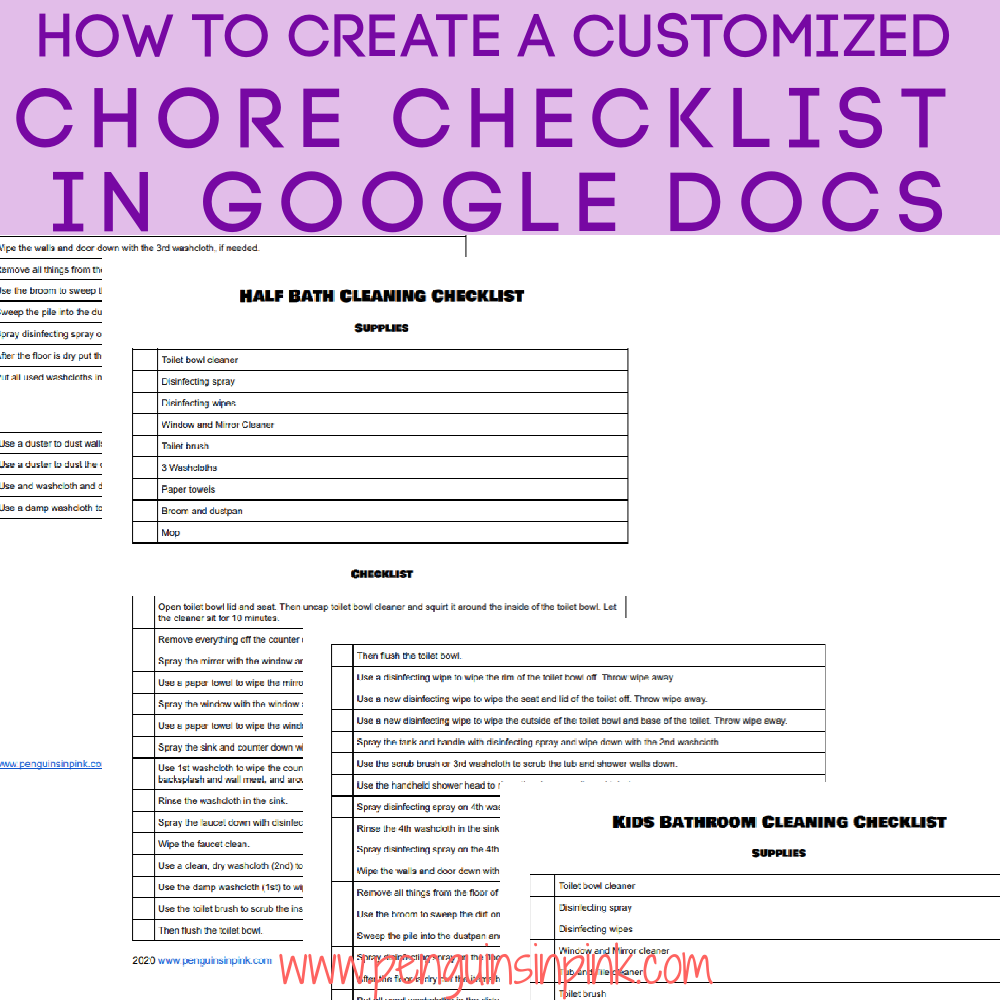 A tutorial on how to Create a Customized Chore Checklist in Google Docs. Easily create a customized chore checklist for each household chore. The tutorial includes additional tips for optimizing your chore checklist.
