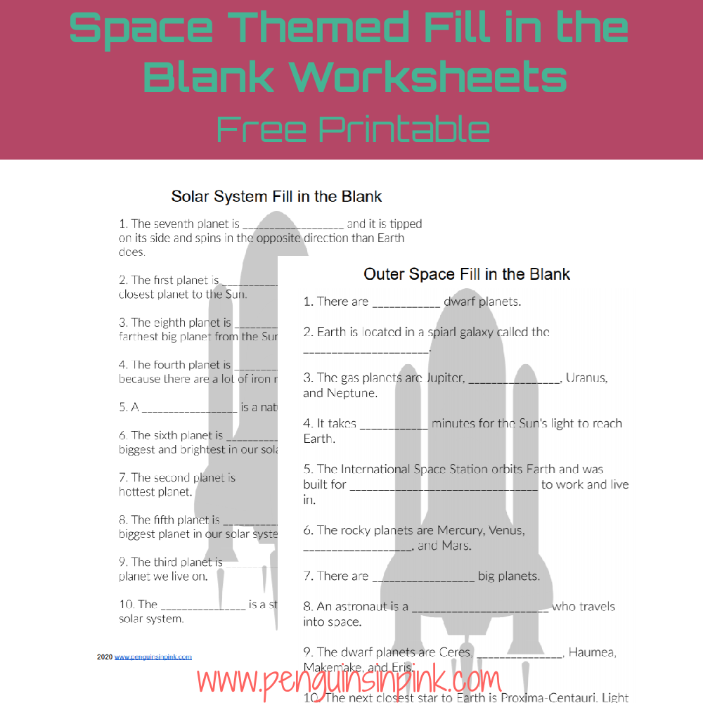 These FREE Printable Fill in the Blank Worksheets are an easy way to help kids review their space words or terms. There are 2 fill in the blank worksheets and answer keys. The first has 10 fill in the blank sentences and covers just the solar system. While the second has 10 fill in the blank sentences and covers general space.