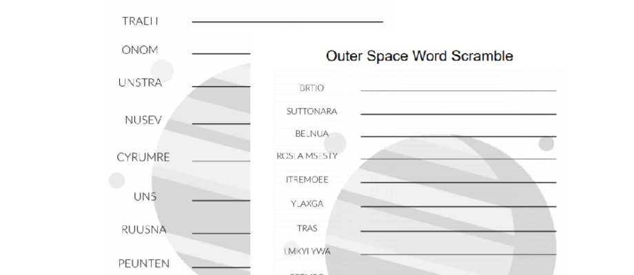 Printable Space Themed Word Scramble Worksheets