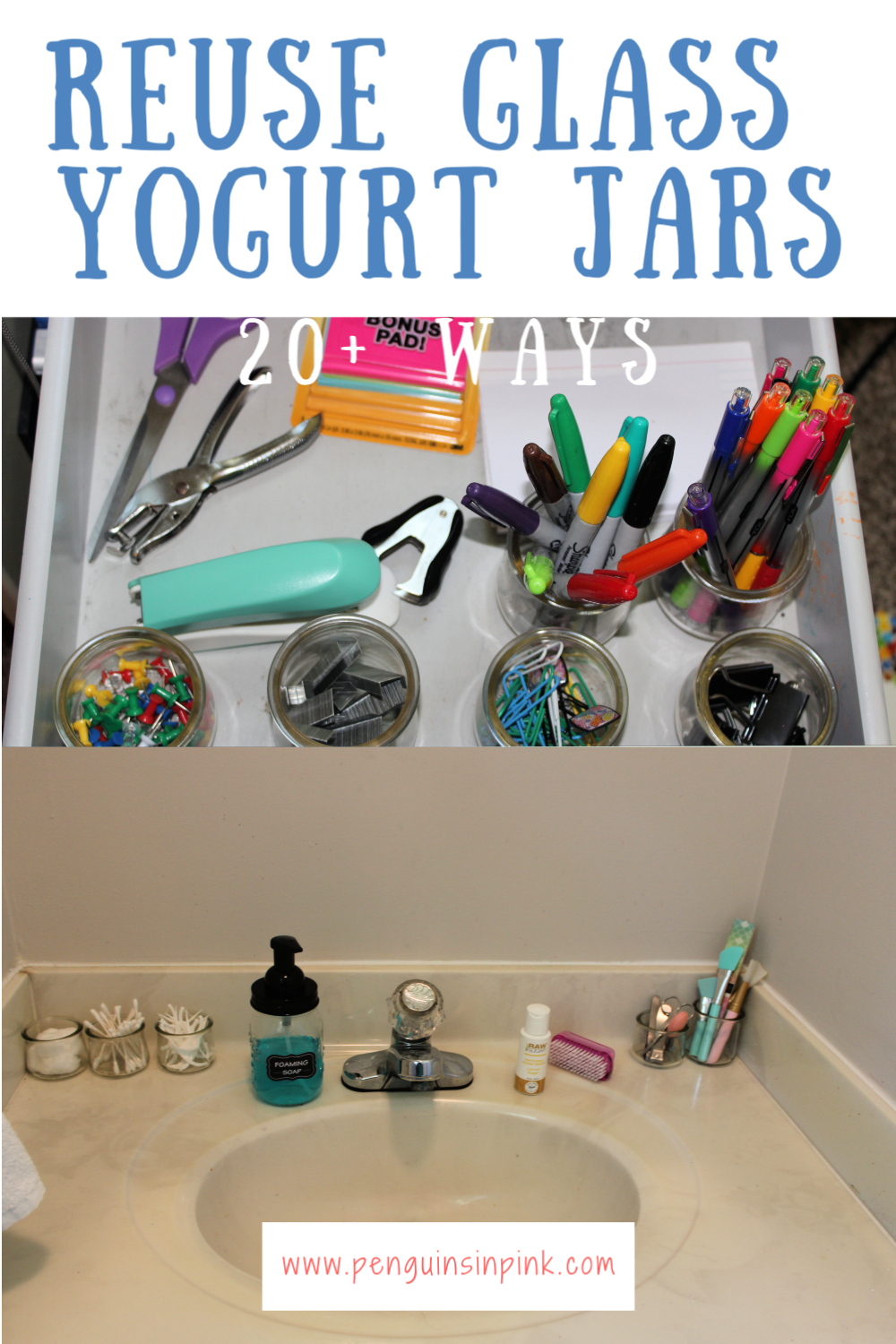 Have a growing collection of glass yogurt or pudding jars? Check out these 20+ ideas to reuse glass yogurt jars in places like the kitchen and bathroom and even office and craft use.