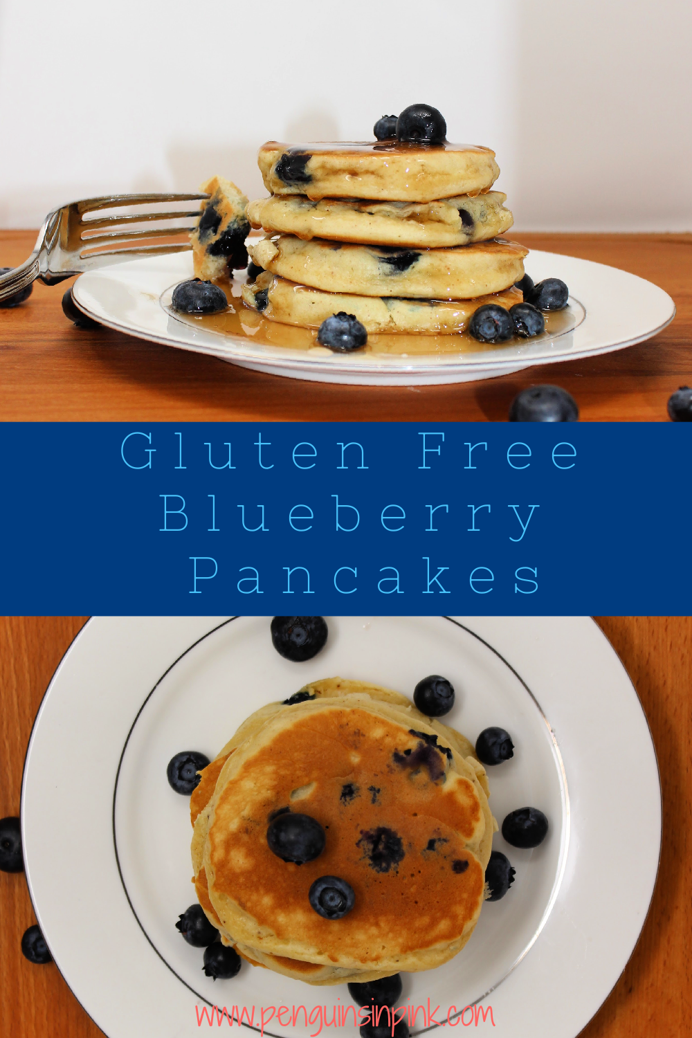 Light and fluffy gluten free blueberry pancakes made with almond milk, coconut oil, and gluten free flour. Perfect for Saturday morning breakfasts or anytime. They also freeze and reheat very well.