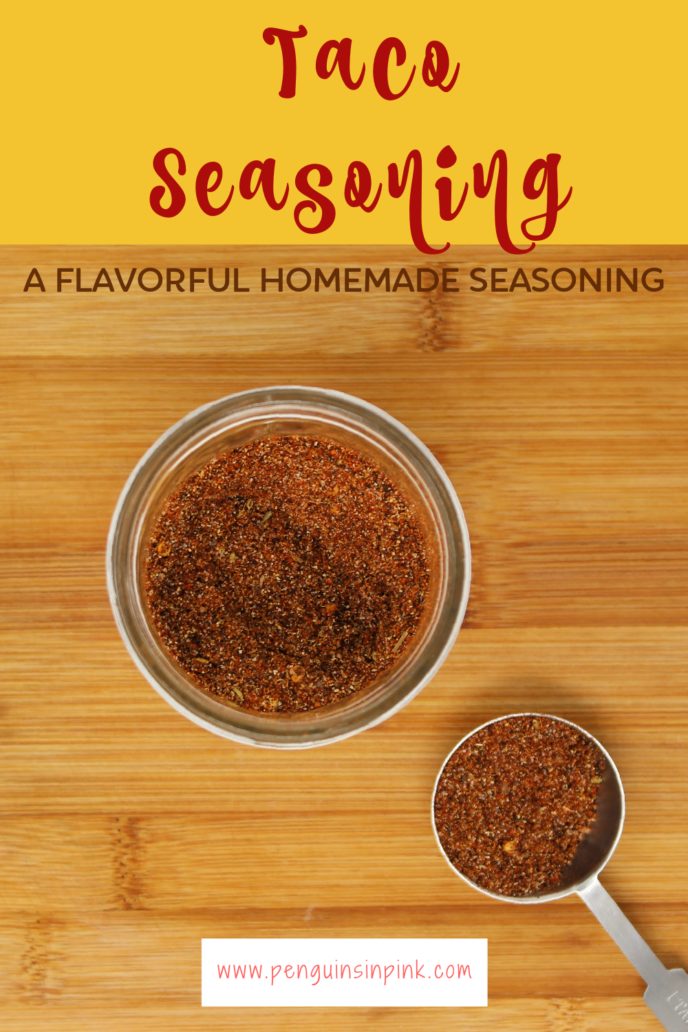 A delicious, flavorful, homemade version of taco seasoning mix. Homemade taco seasoning is a mix of chili powder, cumin, black pepper, paprika, and a few other herbs.