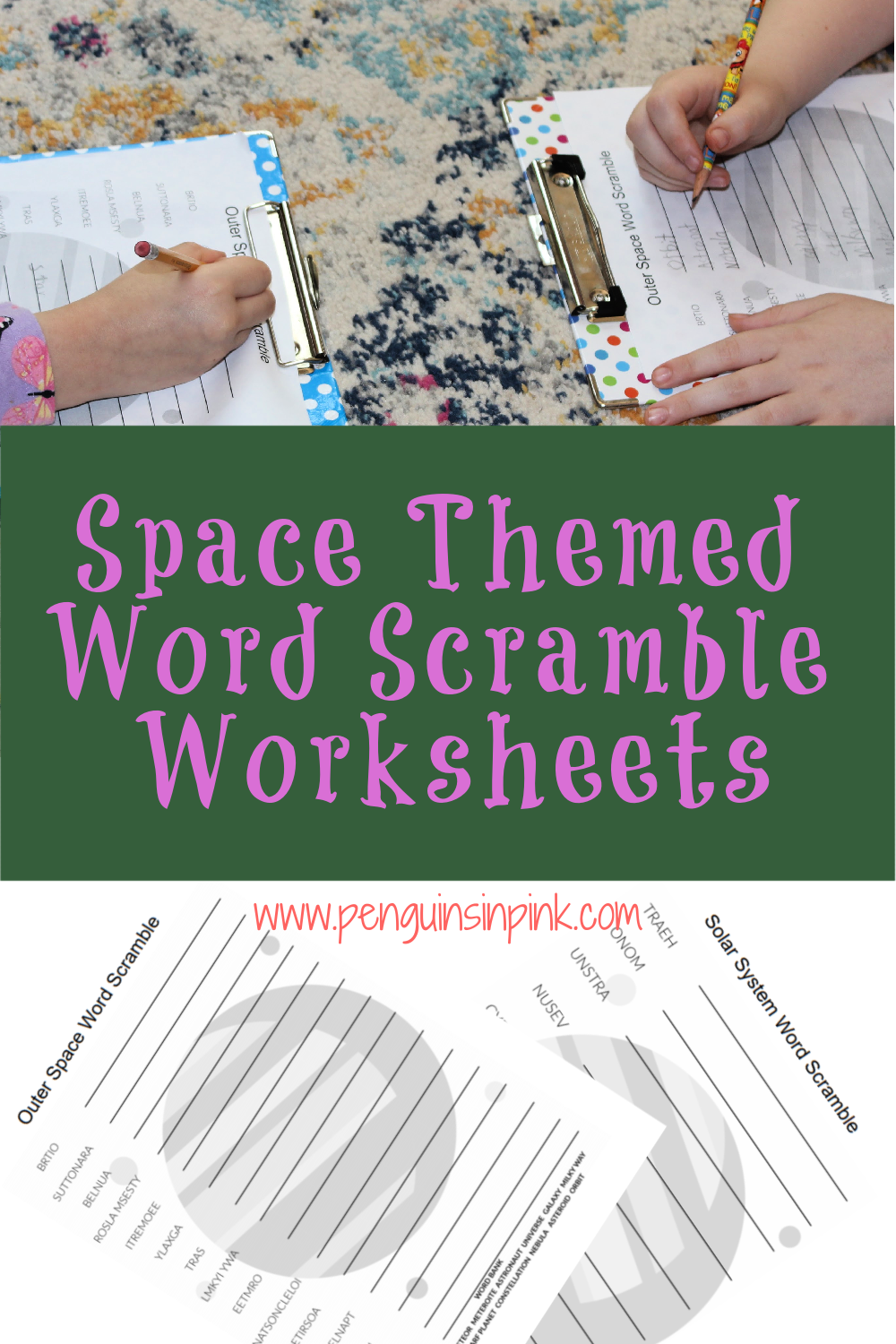 These FREE Printable Word Scramble Worksheets are an easy way to help kids review their space words or terms. There are 4 Word Scramble worksheets and answer keys. The first and second are the same just one has a word bank and the other does not. They both have 10 words and covers just the solar system, the big 8 planets, sun, and moon. While the third and fourth are the same just one has a word bank and the other does not. They both include 15 outer space terms like meteor, dwarf planet, and nebula.
