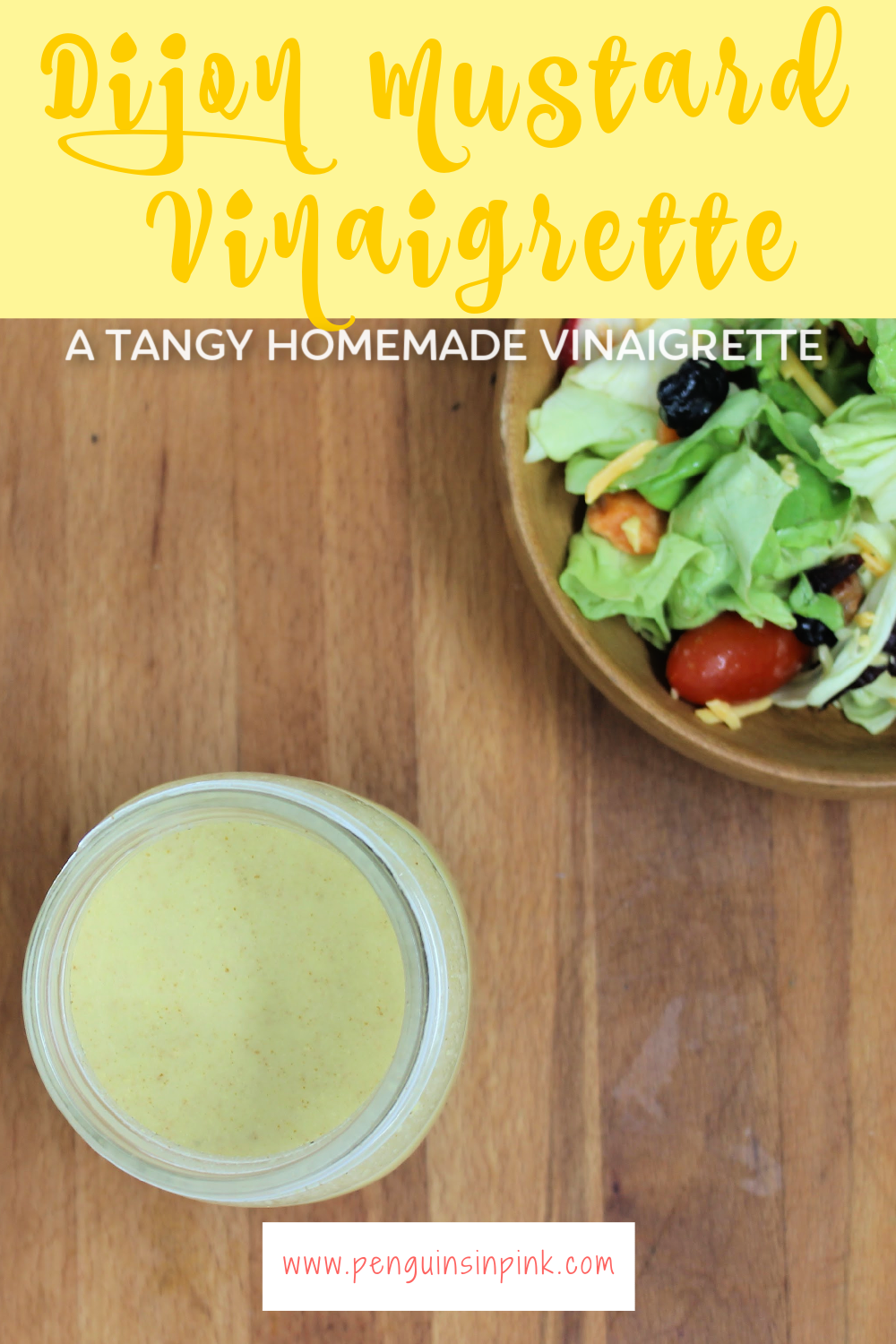 In this Tangy Dijon Mustard Vinaigrette apple cider vinegar combines with dijon mustard to make a vinaigrette that will add a zip to your salads.