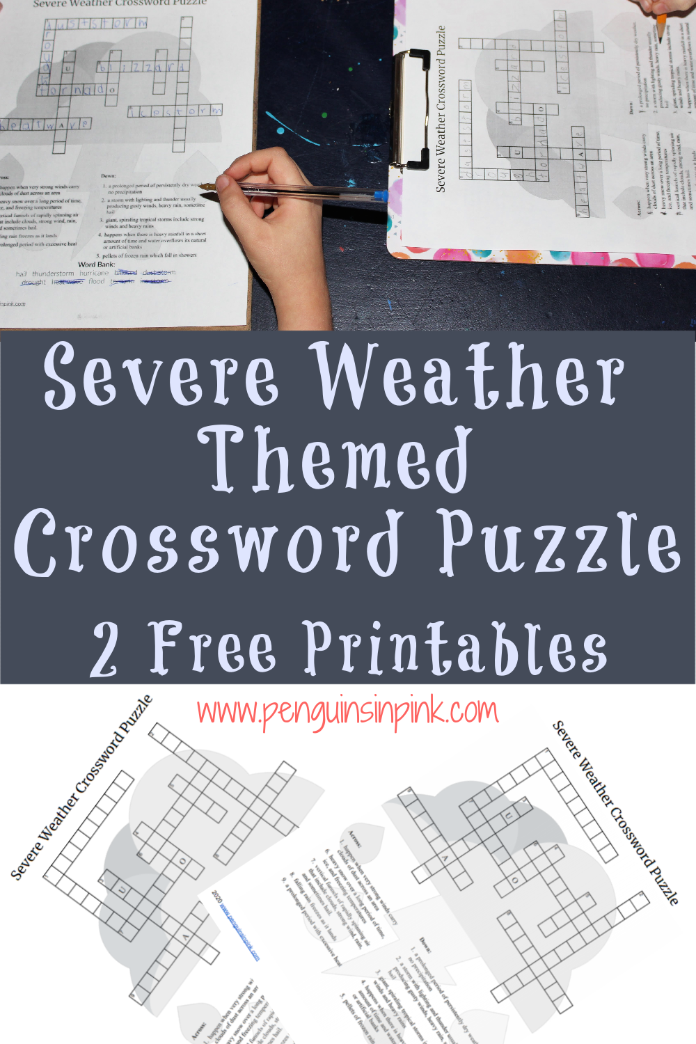 This FREE Printable Severe Weather Crossword Puzzle is an easy way to help kids review their weather knowledge or learn something new severe weather. The crossword puzzle is available either with a word bank or without one. An answer key is also included.