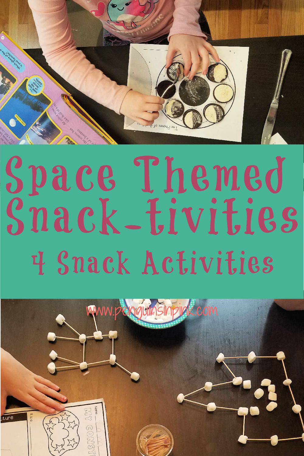 Four, fun and tasty, space themed snack-tivities. Kids will have a blast making planet cookies, marshmallow constellations, rocket kabobs, and the phases of the moon Oreo activities. The best part of all these snack activities? Getting to eat them when you are done!
