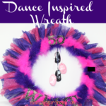 Celebrate a special dance teacher or dancer with this fun and easy to make dance inspired wreath. From the tiny dance shoes to the fan of pink and purple tulle and feathers this wreath is reminiscent of dance costumes.