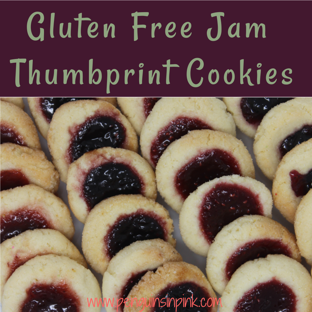 These gluten free jam thumbprint cookies are amazing. Soft and chewy on the inside and crispy on the outside. Filled with your favorite whole fruit jam for a delicious holiday treat.