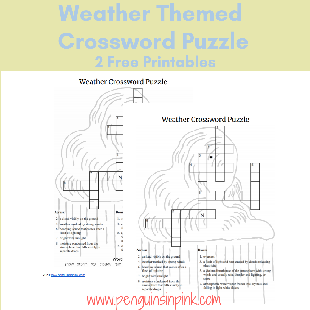 This FREE Printable Weather Themed Crossword Puzzle is an easy way to help kids review their weather knowledge or learn something new. The crossword puzzle is available either with a word bank or without one. An answer key is also included.
