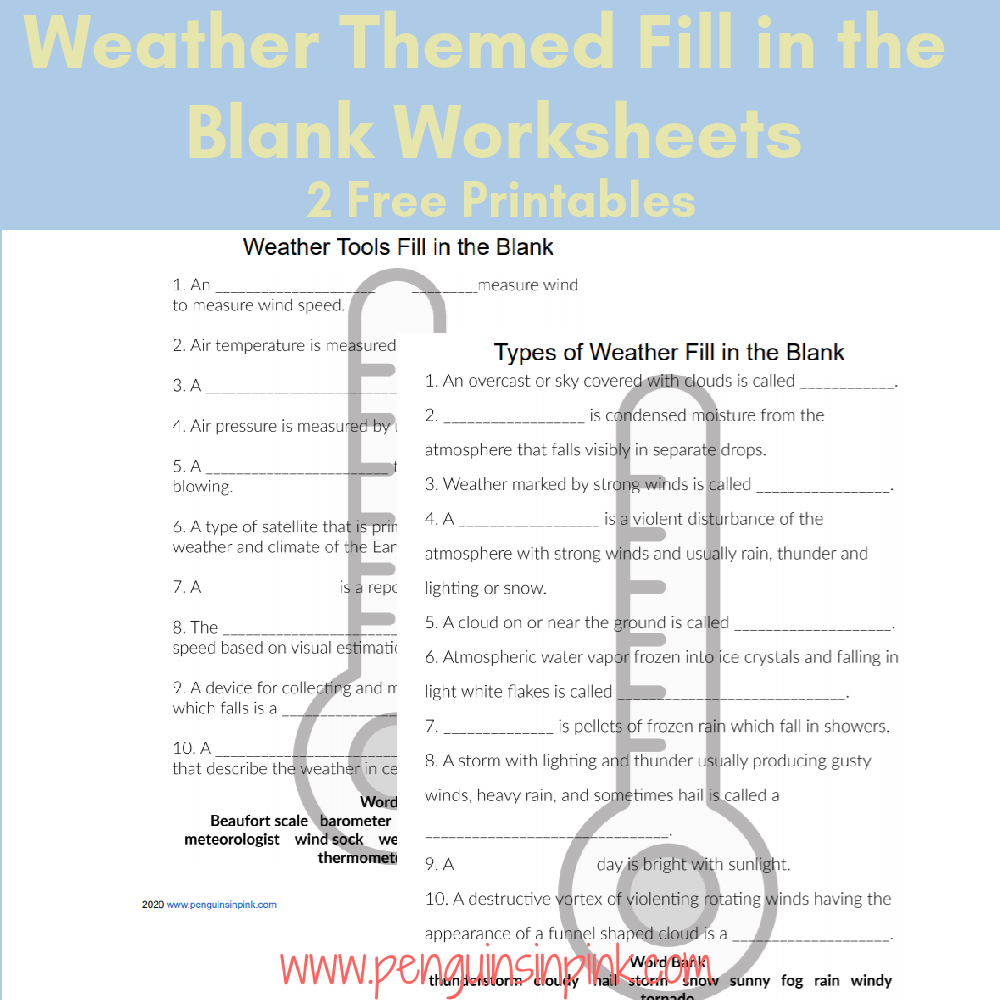 These FREE Printable Fill in the Blank Worksheets are an easy way to help kids review their weather terms. There are 2 fill in the blank worksheets and answer keys. The first has 10 fill in the blank sentences and covers just weather tools. While the second has 10 fill in the blank sentences and covers types of weather.