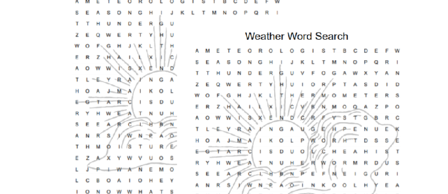 Printable Weather Themed Word Search