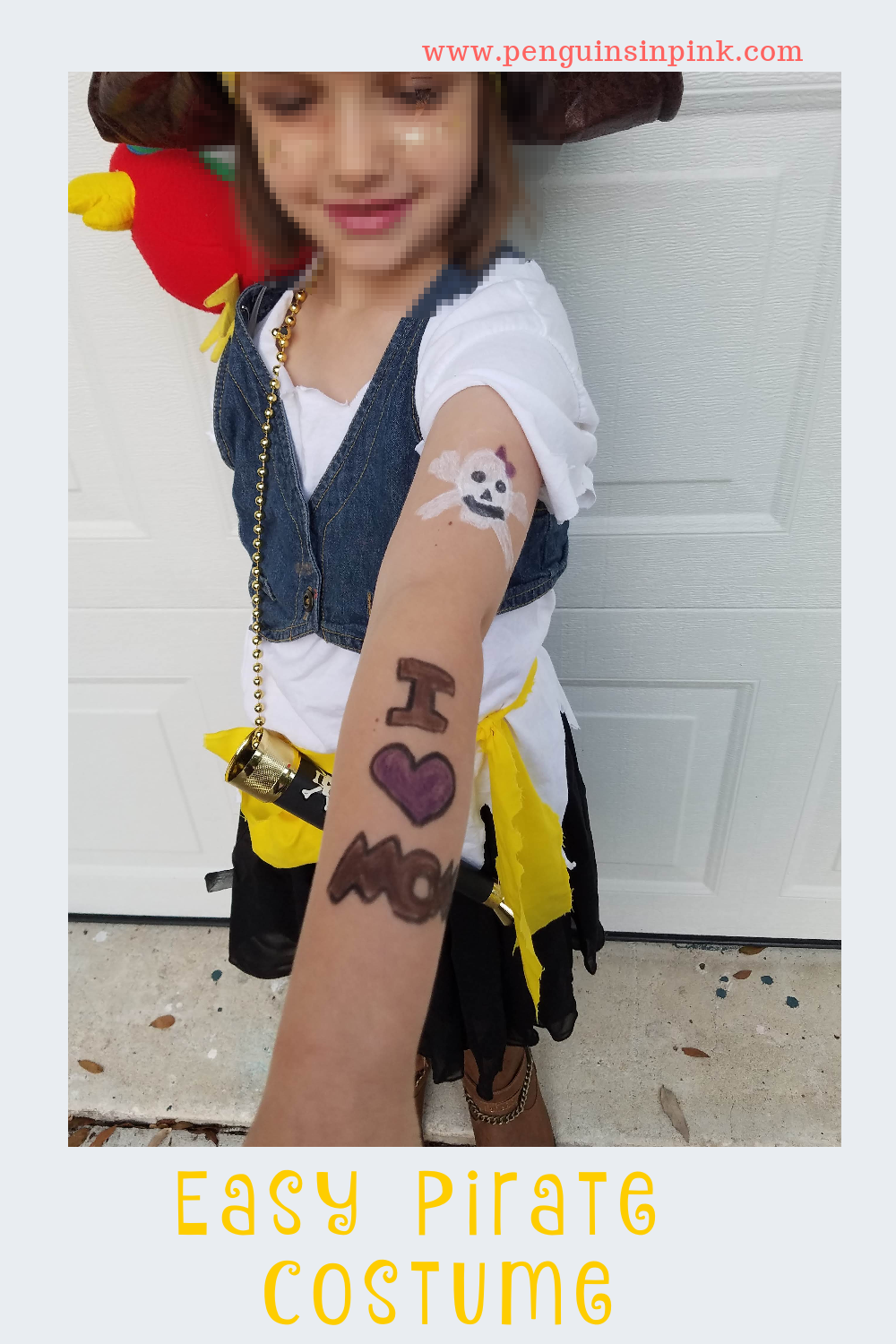 This easy pirate costume is super cute and easy to make. It can easily be made into an adult or children's costume. The base of the costume is made with items you probably have on hand like t-shirt, skirt or pants, and boots.