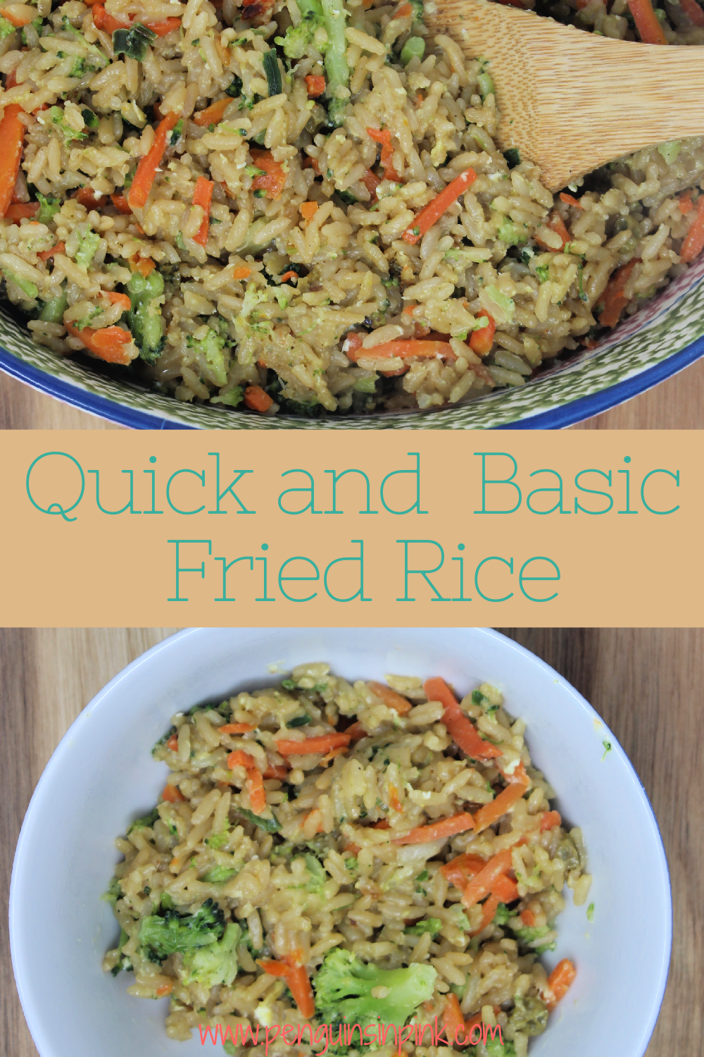 Quick and basic fried rice is made with leftover rice and mixed with scrambled eggs, mixed frozen veggies garlic and ginger and topped with soy sauce, sesame oil, or sriracha mayo.