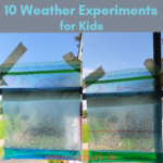 Ten, fun and exciting, weather experiments. Kids will have a blast doing experiments from water cycle in a bag to rain clouds in a jar and a rain gauge to reflecting a rainbow.