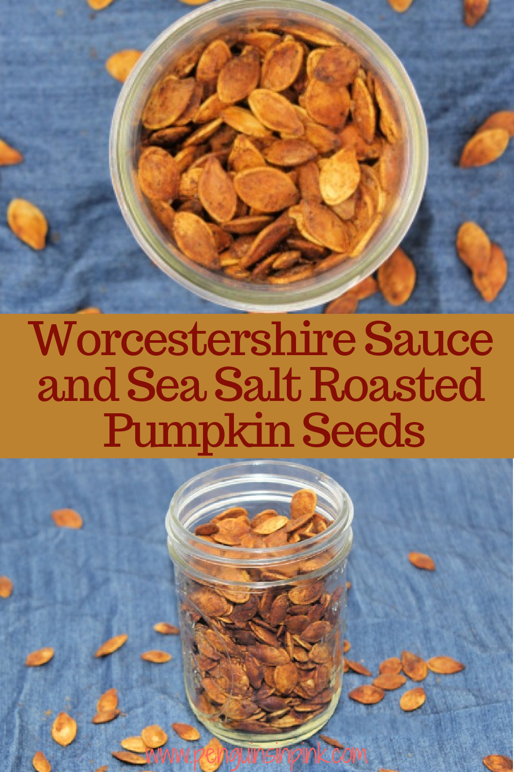 Worcestershire sauce and sea salt combine to make salty, savory, crunchy roasted pumpkin seeds. Worcestershire Sauce and Sea Salt Roasted Pumpkin Seeds are a great snack that travels well making it perfect for car rides, ball games, hiking, or just watching a movie at home.
