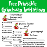 What does every party need? An invitation, of course! There are three versions of the Printable Grinchmas invitations classroom, group/club, and hosted. All the invitations include lines to write in your party details.