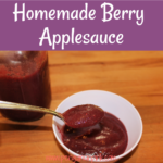 Homemade Berry Applesauce is an easy and healthy recipe to store up your fresh summer berries, so you can enjoy them all year long. It's freezer friendly and has no added sugar!