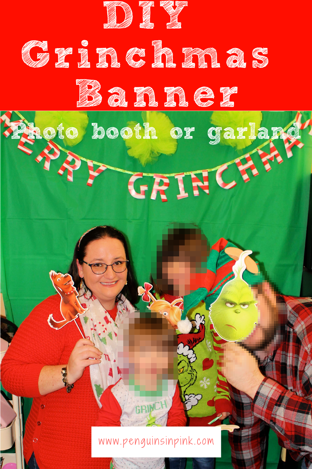 The DIY Grinchmas Banner is super cute and easy to make. It can be hung up like garland or to decorate a table. It can also be used as a backdrop for a photo-booth.