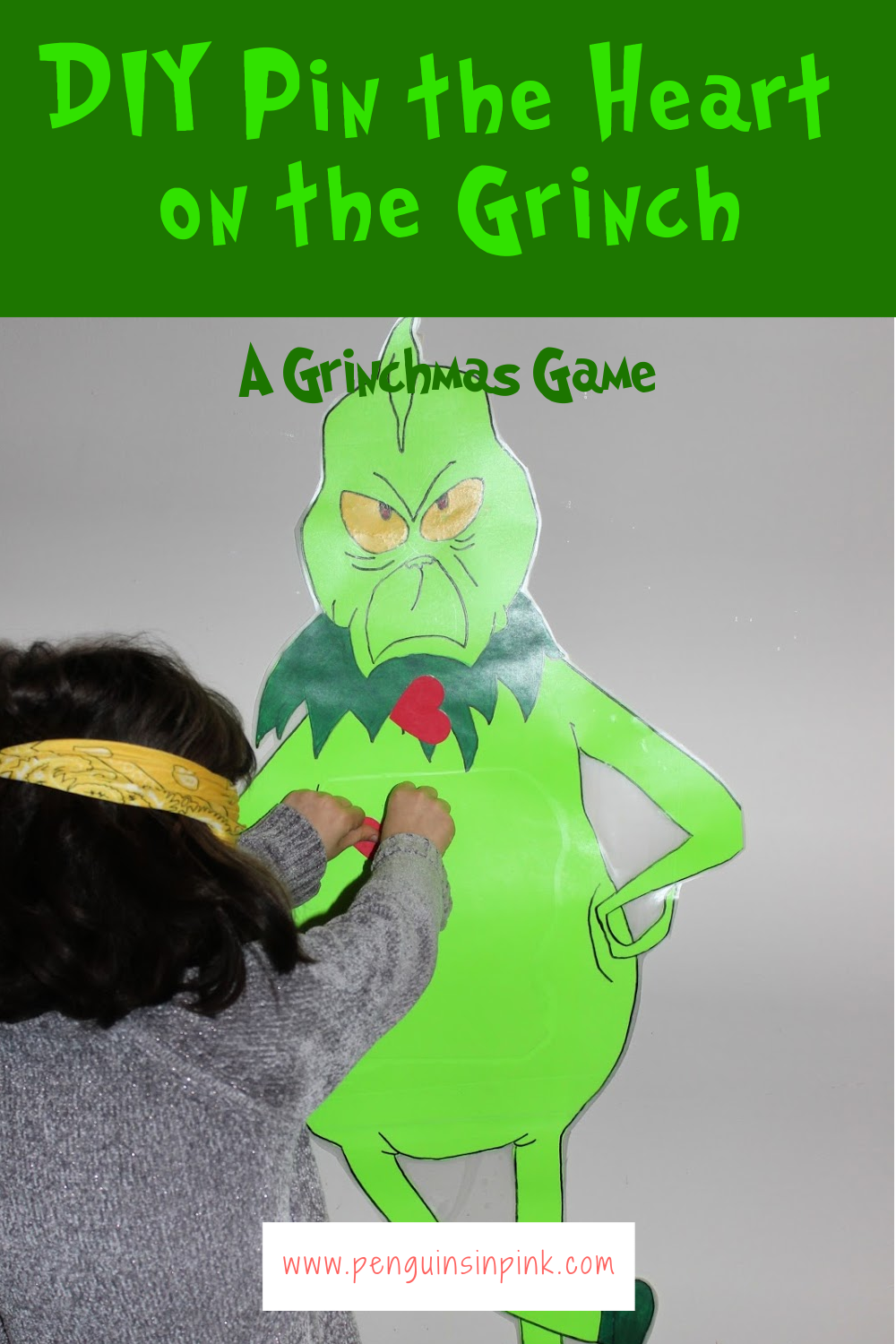 If like me, you tried to buy a Pin the Heart on the Grinch Game only for it to be sold out then this tutorial is for you. How to make a DIY Pin the Heart on the Grinch. Similar to pin the tail on the donkey, players are blind folded, and have to pin a heart on the Grinch.
