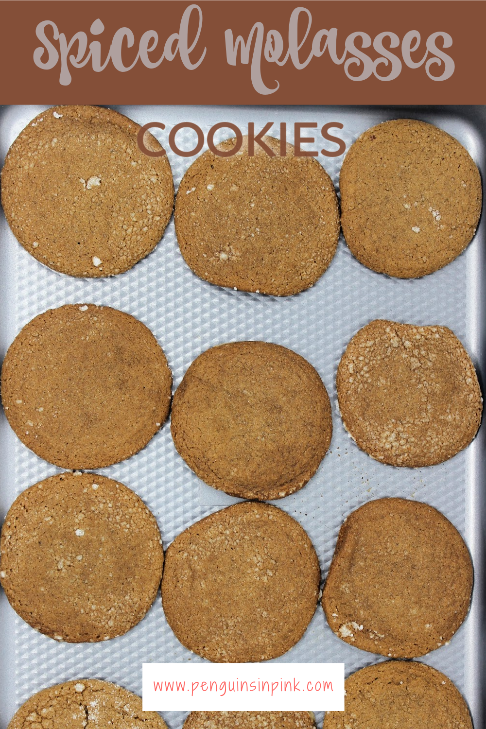 These spiced molasses cookies are amazing. Soft and chewy on the inside and crispy on the outside. Cinnamon, nutmeg, and molasses spice up these sweet cookies.