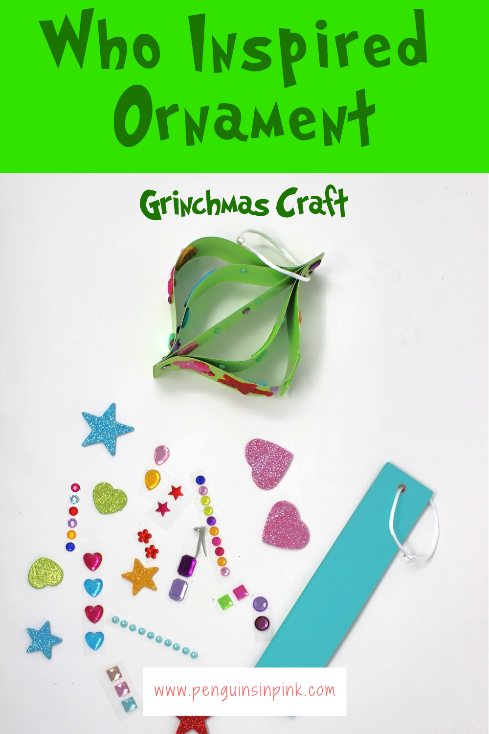 A perfect addition to any Grinchmas party, this Who Inspired Ornament Grinchmas Craft is super cute and easy to make. The base of the ornament is made from card stock. Then the ornament is decorated with stickers, glitter, and markers by the kids.