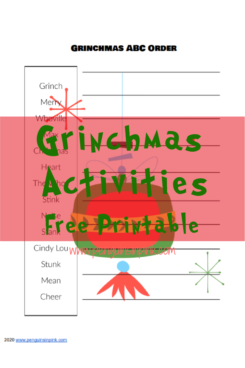 This FREE Printable Pack includes a Grinchmas Word Scramble and an ABC Order. Word scrambles and ABC order are easy yet fun activities that sneak in some reading and literacy skills.