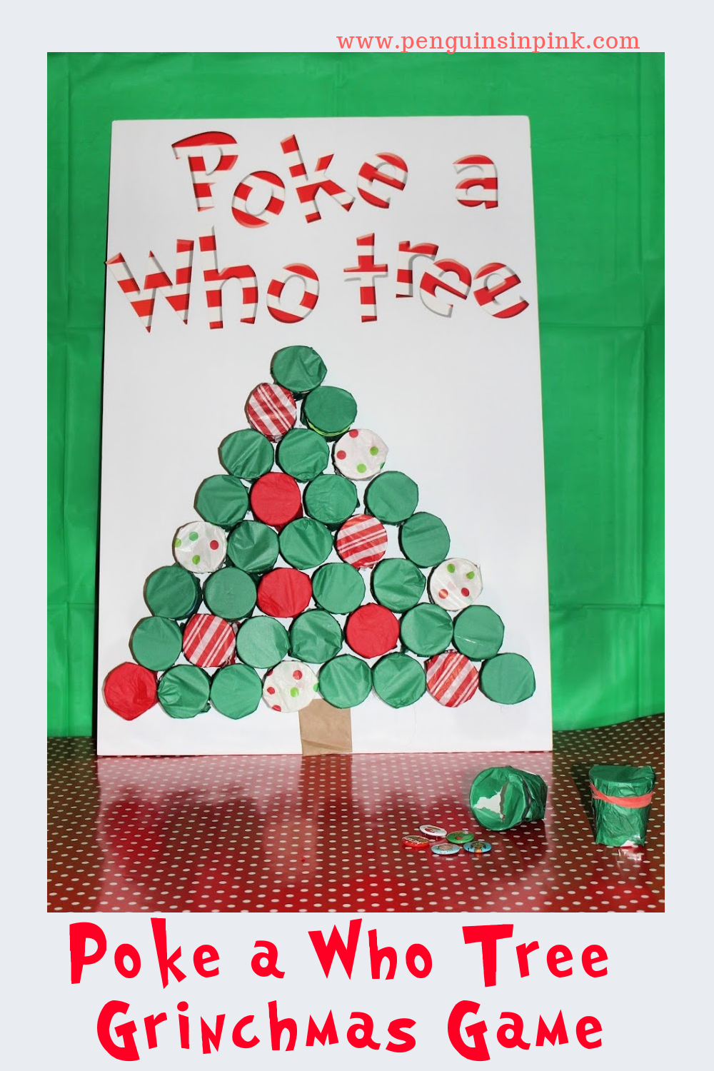 A perfect addition to any Grinchmas party, this Poke a Who Tree Grinchmas Game is super cute and easy to make. The tree is shaped out of paper cups covered with tissue paper. Inside each cup is a little Grinchmas themed trinket.