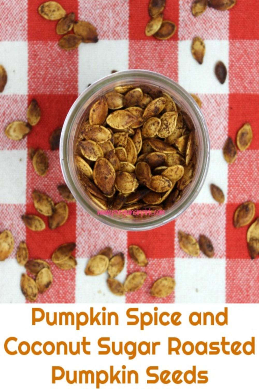 Pumpkin pie spice and coconut sugar combine with coconut oil to make these slightly sweet and crunchy roasted pumpkin seeds. Pumpkin Spice and Coconut Sugar Roasted Pumpkin Seeds are a great snack that travels well making it perfect for car rides, ball games, hiking, or just watching a movie at home.